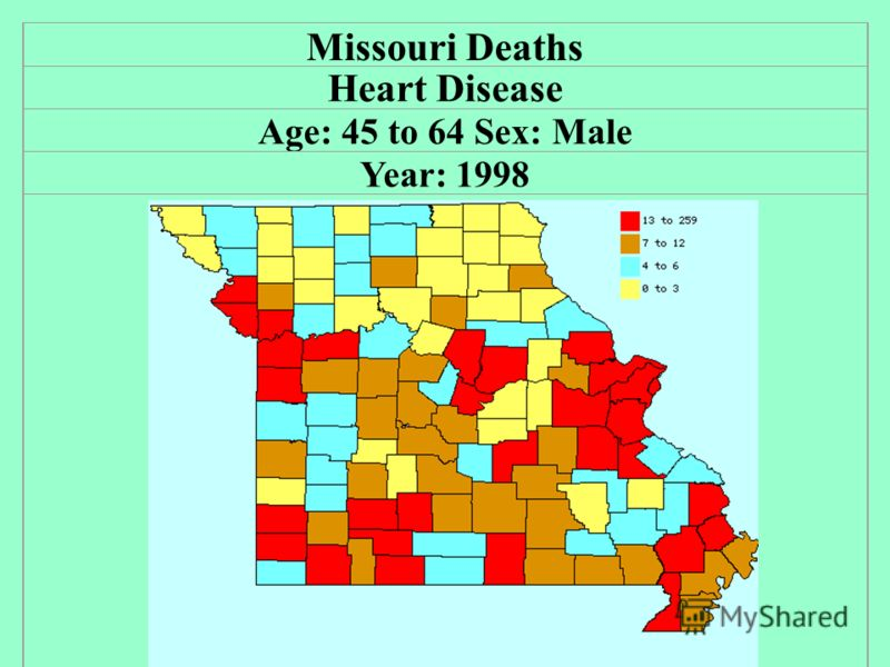 Missouri Deaths Heart Disease Age: 45 to 64 Sex: Male Year: 1998