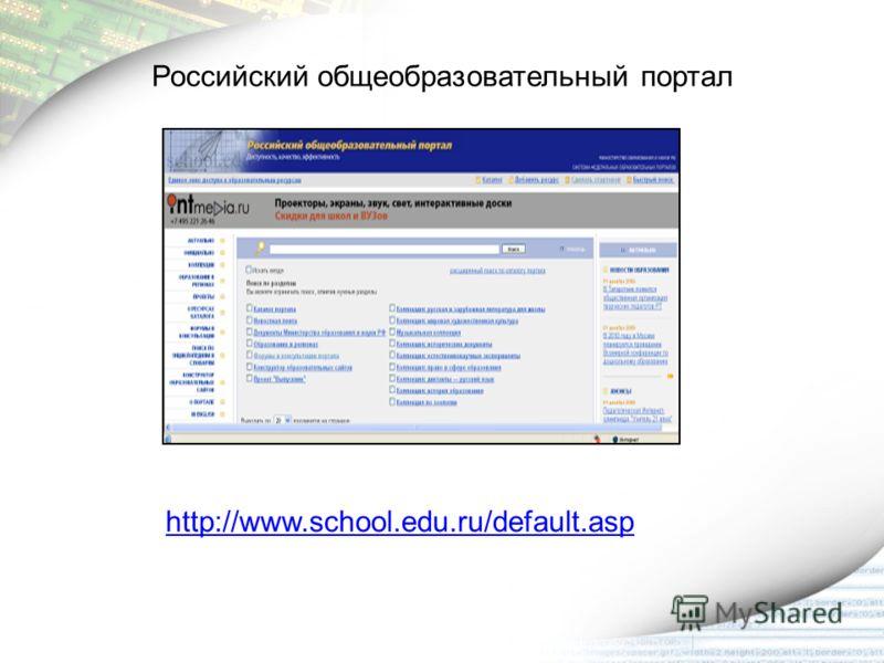 http://www.school.edu.ru/default.asp Российский общеобразовательный портал