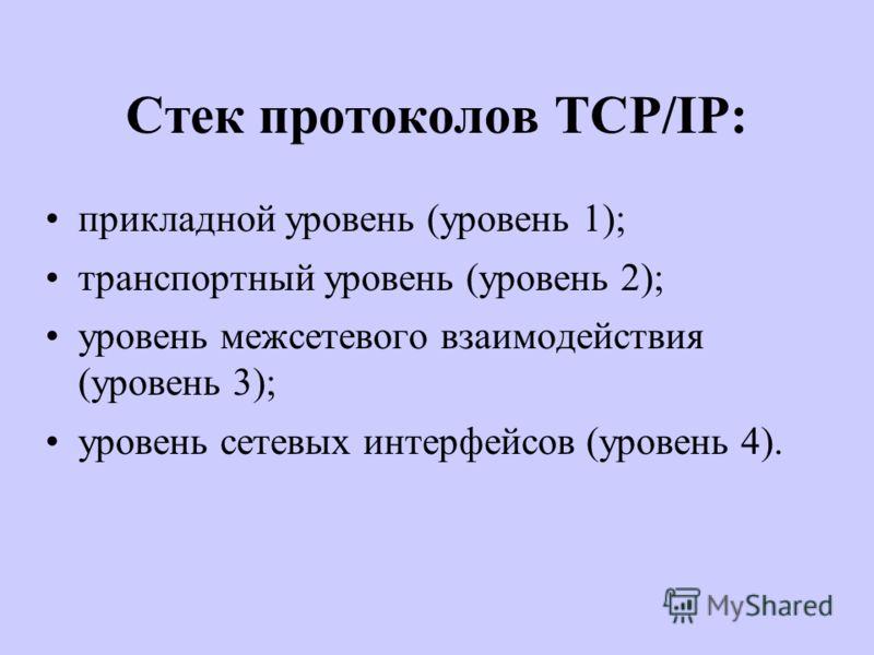 Стек протоколов TCP/IP: прикладной уровень (уровень 1); транспортный уровень (уровень 2); уровень межсетевого взаимодействия (уровень 3); уровень сетевых интерфейсов (уровень 4).