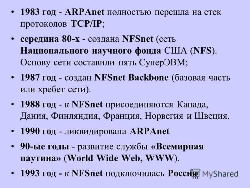 1983 год - ARPAnet полностью перешла на стек протоколов TCP/IP; середина 80-х - создана NFSnet (сеть Национального научного фонда США (NFS). Основу сети составили пять СуперЭВМ; 1987 год - создан NFSnet Backbone (базовая часть или хребет сети). 1988