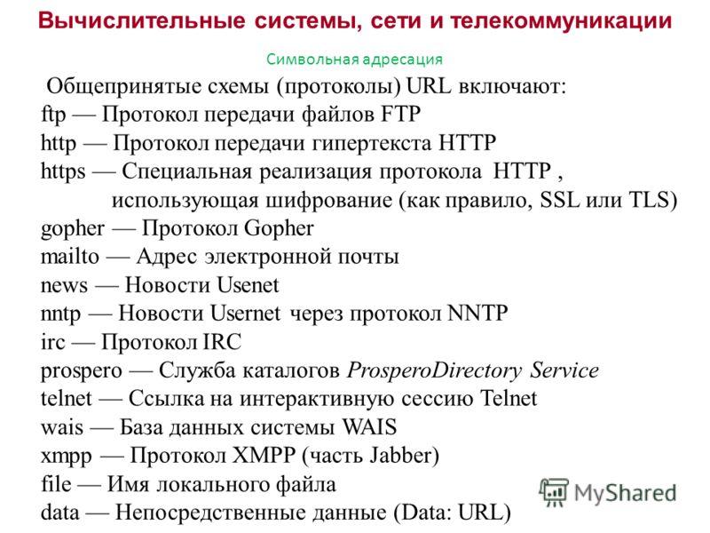 Вычислительные системы, сети и телекоммуникации Символьная адресация Общепринятые схемы (протоколы) URL включают: ftp Протокол передачи файлов FTP http Протокол передачи гипертекста HTTP https Специальная реализация протокола HTTP, использующая шифро