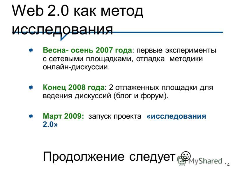 14 Web 2.0 как метод исследования Весна- осень 2007 года: первые эксперименты с сетевыми площадками, отладка методики онлайн-дискуссии. Конец 2008 года: 2 отлаженных площадки для ведения дискуссий (блог и форум). Март 2009: запуск проекта «исследован