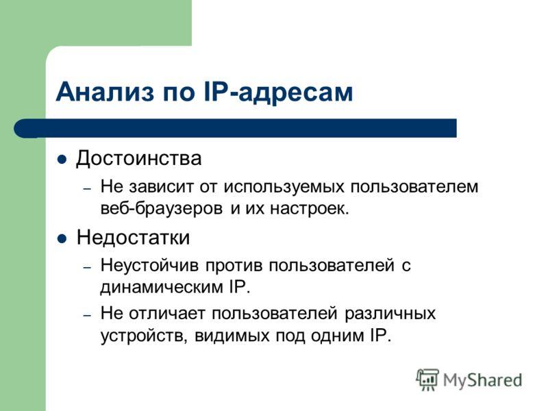 Анализ по IP-адресам Достоинства – Не зависит от используемых пользователем веб-браузеров и их настроек. Недостатки – Неустойчив против пользователей с динамическим IP. – Не отличает пользователей различных устройств, видимых под одним IP.