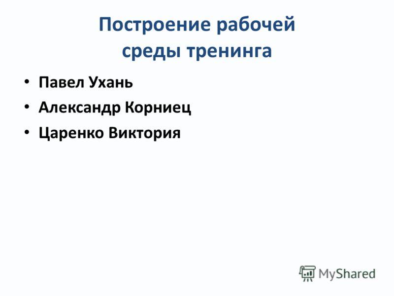 Построение рабочей среды тренинга Павел Ухань Александр Корниец Царенко Виктория