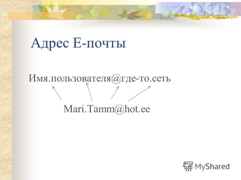 Адрес E-почты Имя.пользователя@где-то.сеть Mari.Tamm@hot.ee
