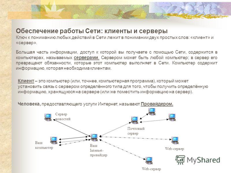Обеспечение работы Сети: клиенты и серверы Ключ к пониманию любых действий в Сети лежит в понимании двух простых слов: «клиент» и «сервер». Большая часть информации, доступ к которой вы получаете с помощью Сети, содержится в компьютерах, называемых с