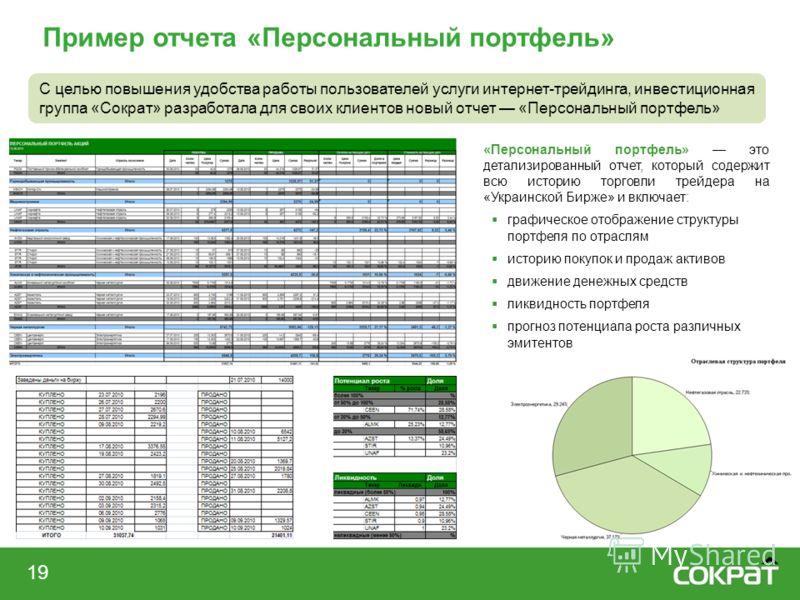Пример отчета «Персональный портфель» 19 С целью повышения удобства работы пользователей услуги интернет-трейдинга, инвестиционная группа «Сократ» разработала для своих клиентов новый отчет «Персональный портфель» «Персональный портфель» это детализи
