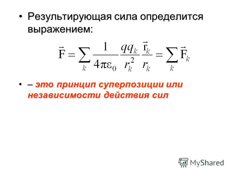 1.4. Сложение электростатических полей. Принцип суперпозиции Если поле создается несколькими точечными зарядами, то на пробный заряд q действует со стороны заряда q k такая сила, как если бы других зарядов не было.Если поле создается несколькими точе