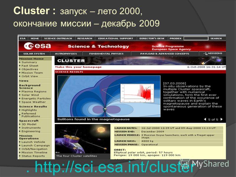 Cluster : запуск – лето 2000, окончание миссии – декабрь 2009. http://sci.esa.int/cluster