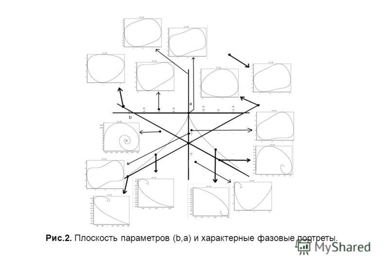 Рис.2. Плоскость параметров (b,a) и характерные фазовые портреты.