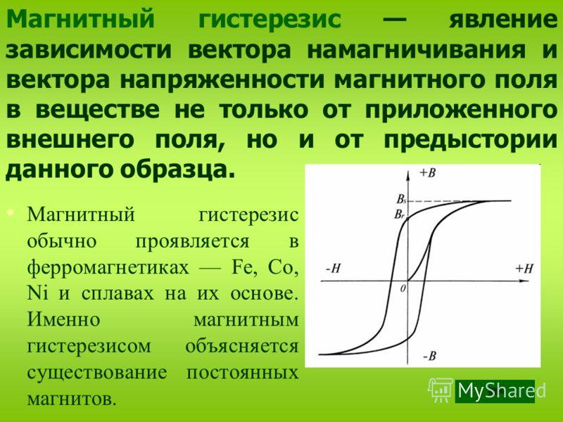 Магнитный гистерезис обычно проявляется в ферромагнетиках Fe, Co, Ni и сплавах на их основе. Именно магнитным гистерезисом объясняется существование постоянных магнитов. Магнитный гистерезис явление зависимости вектора намагничивания и вектора напряж
