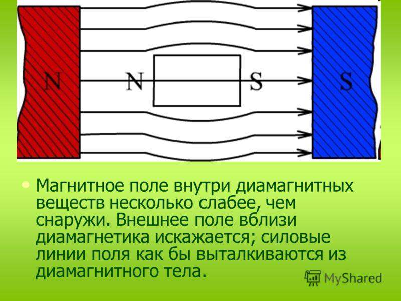 Диамагнетик не усиливает, а ослабляет внешнее магнитное поле. μ < 1 (например для золота μ = 0,999961). Собственное магнитное поле, созданное диамагне