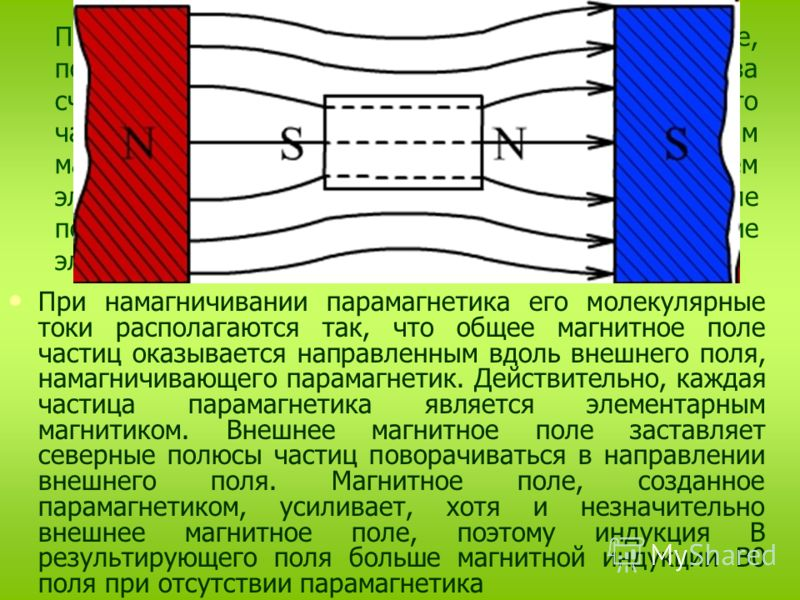 Парамагнетиками называются вещества, которые, попав в магнитное поле, несколько усиливают его за счет своего магнетизма. Объясняется это тем, что част