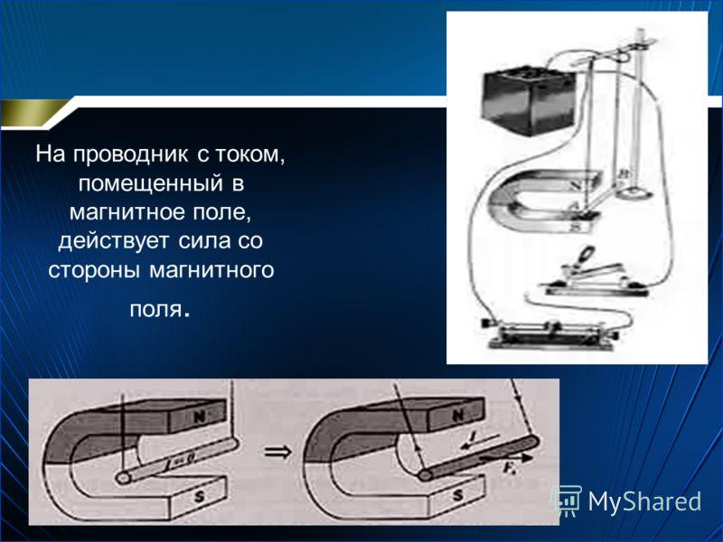 На проводник с током, помещенный в магнитное поле, действует сила со стороны магнитного поля.