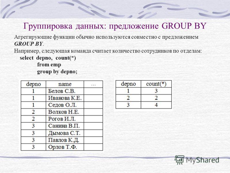 Группировка данных: предложение GROUP BY Агрегирующие функции обычно используются совместно с предложением GROUP BY. Например, следующая команда считает количество сотрудников по отделам: select depno, count(*) from emp group by depno;