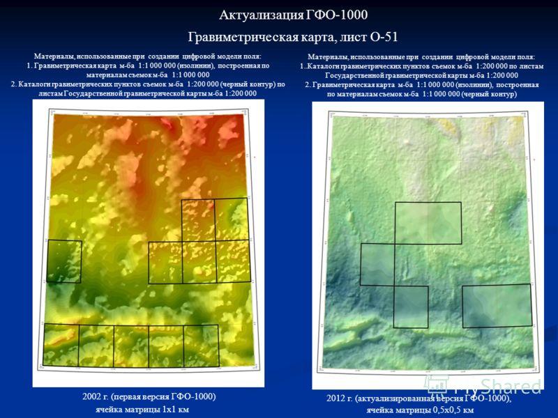 Актуализация ГФО-1000 Гравиметрическая карта, лист O-51 Материалы, использованные при создании цифровой модели поля: 1. Гравиметрическая карта м-ба 1:1 000 000 (изолинии), построенная по материалам съемок м-ба 1:1 000 000 2. Каталоги гравиметрических