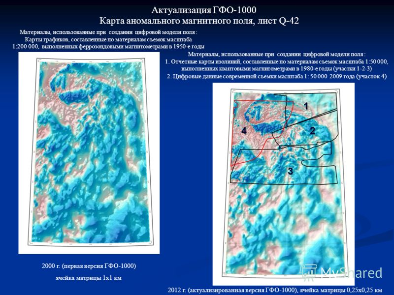 Карта аномального магнитного поля, лист Q-42 Актуализация ГФО-1000 Материалы, использованные при создании цифровой модели поля : 1. Отчетные карты изолиний, составленные по материалам съемок масштаба 1:50 000, выполненных квантовыми магнитометрами в