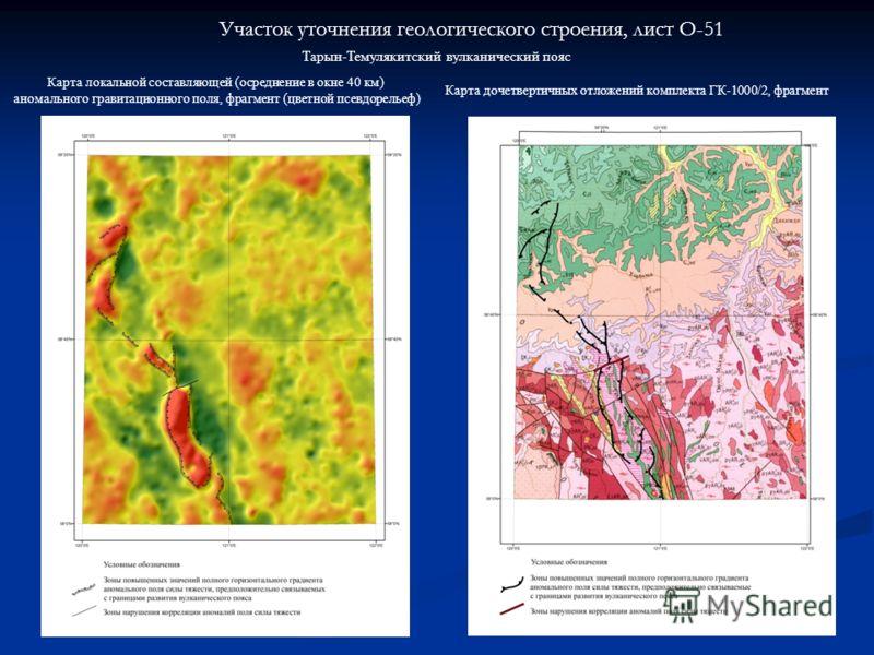 Участок уточнения геологического строения, лист O-51 Тарын-Темулякитский вулканический пояс Карта локальной составляющей (осреднение в окне 40 км) аномального гравитационного поля, фрагмент (цветной псевдорельеф) Карта дочетвертичных отложений компле