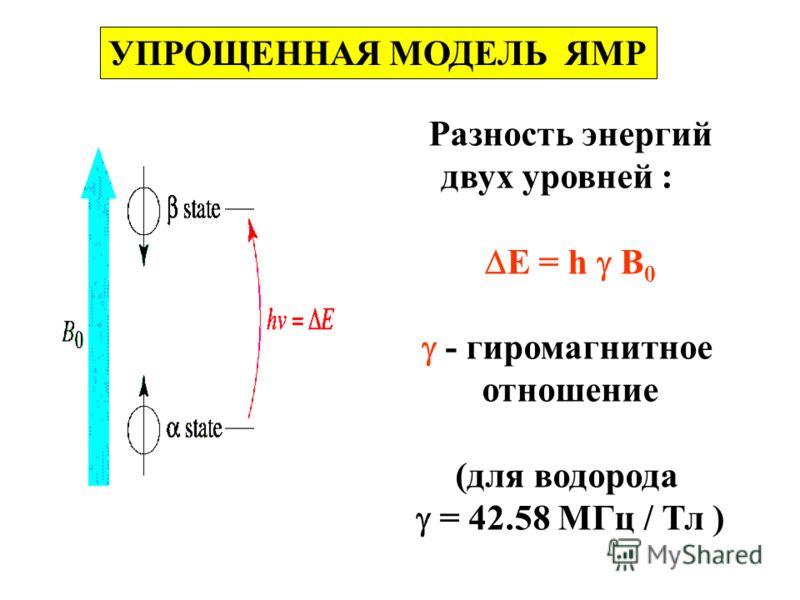 УПРОЩЕННАЯ МОДЕЛЬ ЯМР Разность энергий двух уровней : E = h B 0 - гиромагнитное отношение (для водорода = 42.58 MГц / Тл )