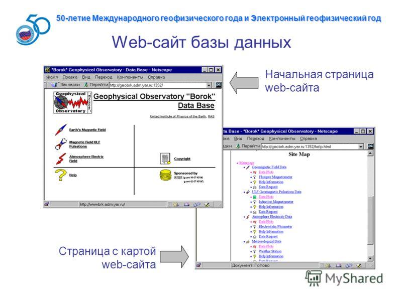 Web-сайт базы данных Начальная страница web-сайта Страница с картой web-сайта 50-летие Международного геофизического года и Электронный геофизический год