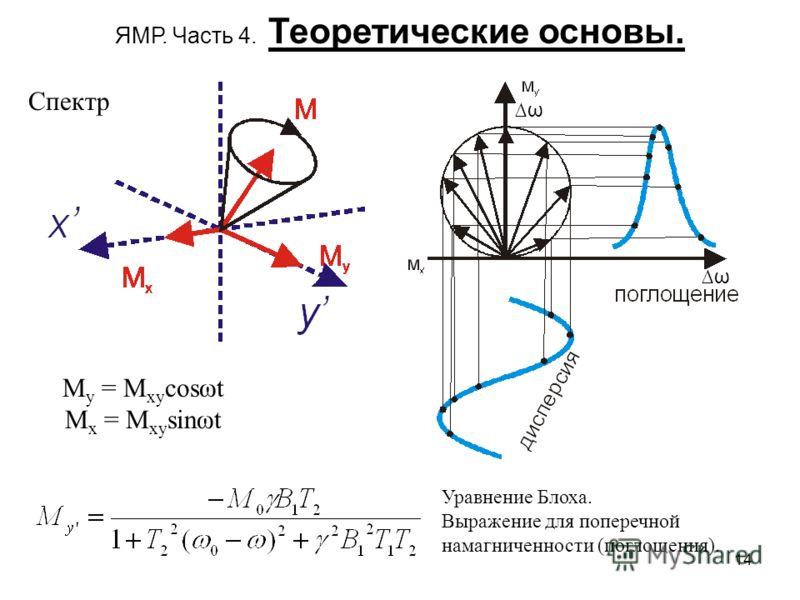 14 ЯМР. Часть 4. Теоретические основы. Спектр M y = M xy cosωt M x = M xy sinωt Уравнение Блоха. Выражение для поперечной намагниченности (поглощения). ω ω