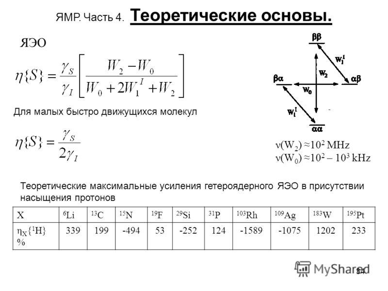 34 ЯМР. Часть 4. Теоретические основы. ЯЭО ν(W 2 ) 10 2 MHz ν(W 0 ) 10 2 – 10 3 kHz Для малых быстро движущихся молекул X 6 Li 13 C 15 N 19 F 29 Si 31 P 103 Rh 109 Ag 183 W 195 Pt η X { 1 H} % 339199-49453-252124-1589-10751202233 Теоретические максим