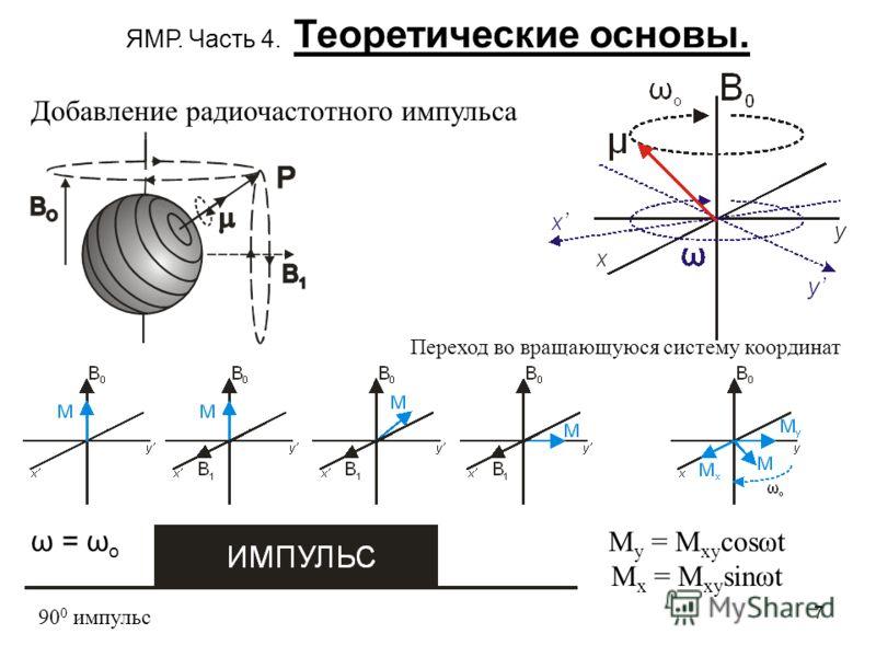7 ЯМР. Часть 4. Теоретические основы. Добавление радиочастотного импульса 90 0 импульс ω = ω o Переход во вращающуюся систему координат M y = M xy cosωt M x = M xy sinωt
