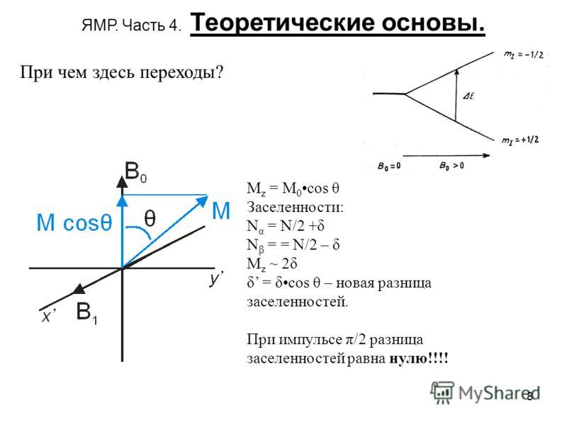 8 ЯМР. Часть 4. Теоретические основы. При чем здесь переходы? M z = M 0 cos θ Заселенности: N α = N/2 +δ N β = = N/2 – δ M z ~ 2δ δ = δcos θ – новая разница заселенностей. При импульсе π/2 разница заселенностей равна нулю!!!!
