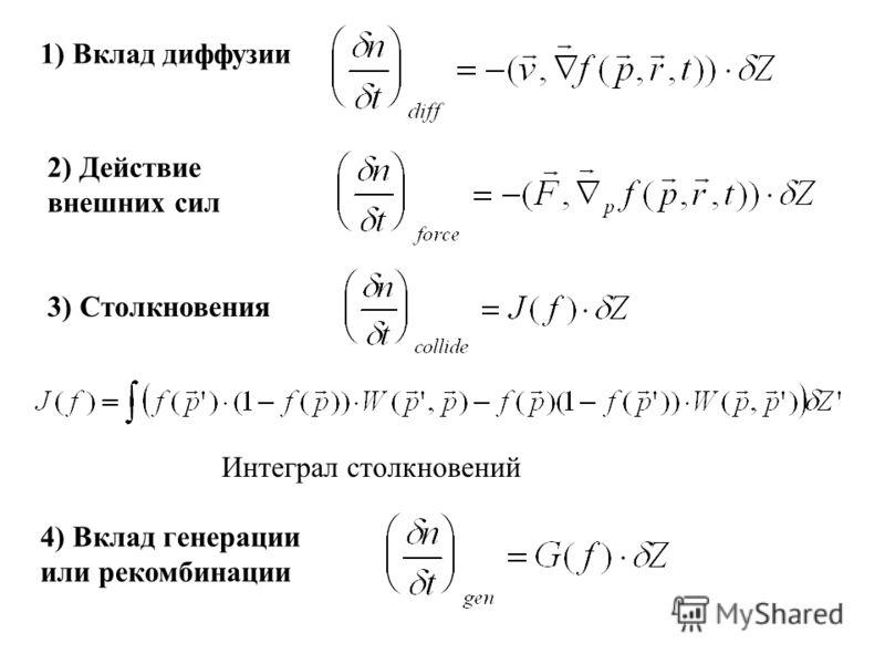 1) Вклад диффузии 2) Действие внешних сил 3) Столкновения Интеграл столкновений 4) Вклад генерации или рекомбинации