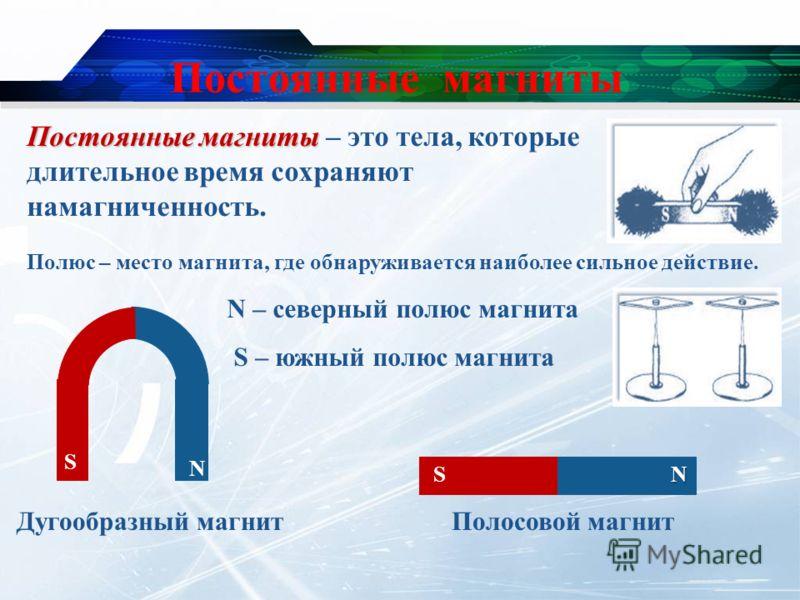 Постоянные магниты N – северный полюс магнита S – южный полюс магнита Постоянные магниты Постоянные магниты – это тела, которые длительное время сохраняют намагниченность. Дугообразный магнитПолосовой магнит N N S S Полюс – место магнита, где обнаруж