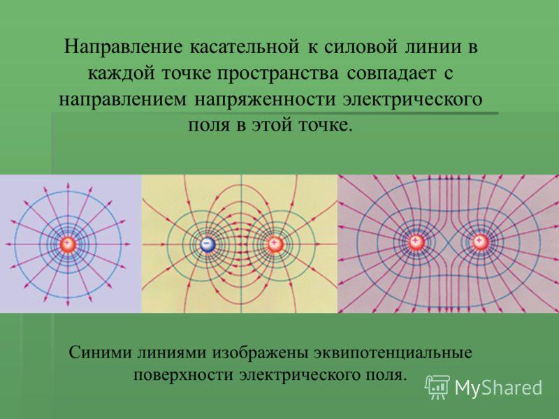Направление касательной к силовой линии в каждой точке пространства совпадает с направлением напряженности электрического поля в этой точке. Синими линиями изображены эквипотенциальные поверхности электрического поля.