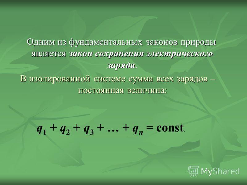 Одним из фундаментальных законов природы является закон сохранения электрического заряда. Одним из фундаментальных законов природы является закон сохранения электрического заряда. В изолированной системе сумма всех зарядов – постоянная величина: q 1