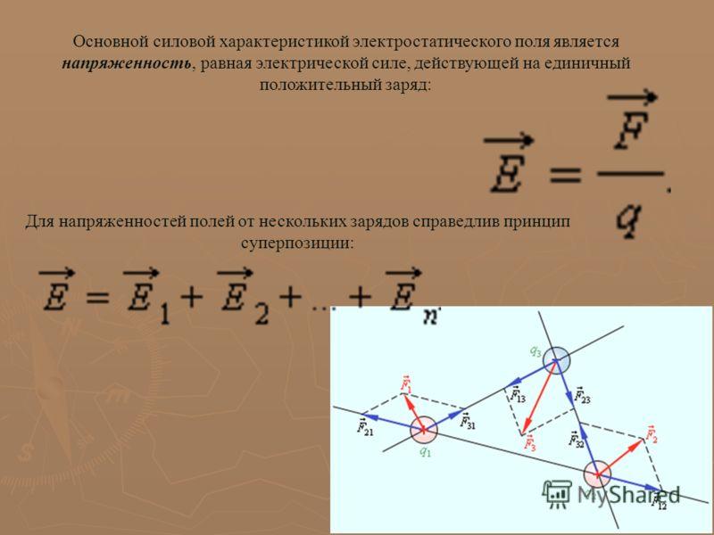 Основной силовой характеристикой электростатического поля является напряженность, равная электрической силе, действующей на единичный положительный заряд: Для напряженностей полей от нескольких зарядов справедлив принцип суперпозиции:
