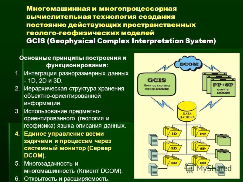 Многомашинная и многопроцессорная вычислительная технология создания постоянно действующих пространственных геолого-геофизических моделей GCIS (Geophysical Complex Interpretation System) Основные принципы построения и функционирования: 1.Интеграция р