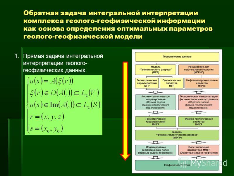 1.Прямая задача интегральной интерпретации геолого- геофизических данных Обратная задача интегральной интерпретации комплекса геолого-геофизической информации как основа определения оптимальных параметров геолого-геофизической модели