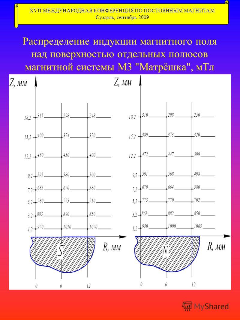 Распределение индукции магнитного поля над поверхностью отдельных полюсов магнитной системы М3 Матрёшка, мТл XVII МЕЖДУНАРОДНАЯ КОНФЕРЕНЦИЯ ПО ПОСТОЯННЫМ МАГНИТАМ Суздаль, сентябрь 2009