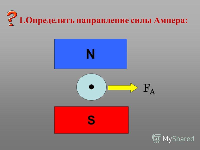 11 1.Определить направление силы Ампера: N S FAFA