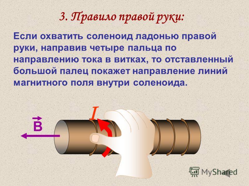 3. Правило правой руки: Если охватить соленоид ладонью правой руки, направив четыре пальца по направлению тока в витках, то отставленный большой палец покажет направление линий магнитного поля внутри соленоида. I В