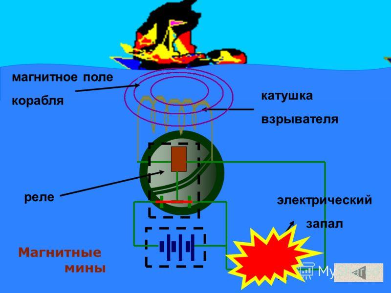 Магнитные мины катушка взрывателя реле электрический запал магнитное поле корабля