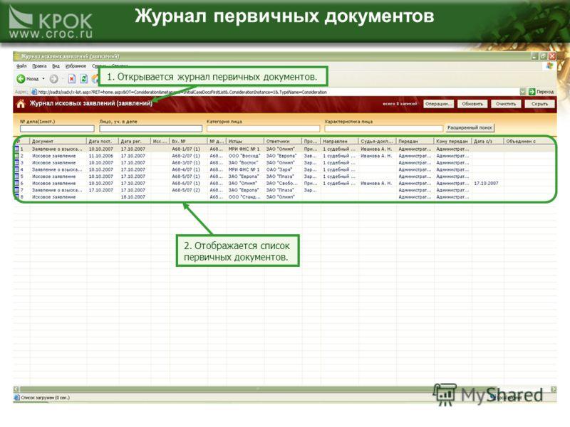 Журнал первичных документов 1. Открывается журнал первичных документов. 2. Отображается список первичных документов.