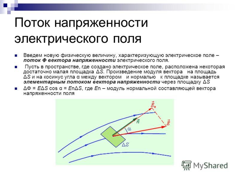 Поток напряженности электрического поля Введем новую физическую величину, характеризующую электрическое поле – поток Φ вектора напряженности электрического поля. Пусть в пространстве, где создано электрическое поле, расположена некоторая достаточно м