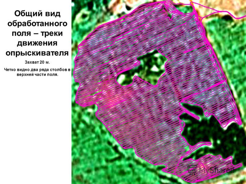 Общий вид обработанного поля – треки движения опрыскивателя Захват 20 м. Четко видно два ряда столбов в верхней части поля.