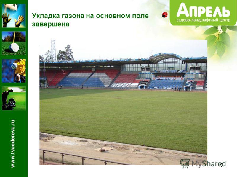 9 Укладка газона на основном поле завершена www.tvoederevo.ru