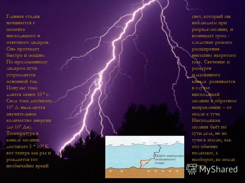 свет, который мы наблюдаем при разряде молнии, и возникает гром - следствие резкого расширения внезапно нагретого газа. Свечение и разогрев плазменного канала развивается в случае нисходящей молнии в обратном направлении – от земли к туче. Нисходящая