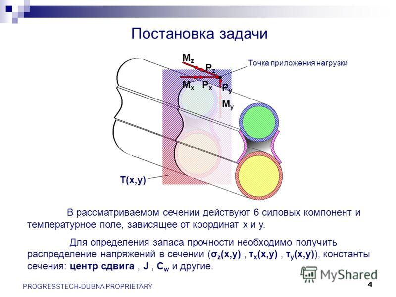 4 PROGRESSTECH-DUBNA PROPRIETARY PxPx MxMx PyPy MyMy MzMz PzPz T(x,y) В рассматриваемом сечении действуют 6 силовых компонент и температурное поле, зависящее от координат x и y. Для определения запаса прочности необходимо получить распределение напря
