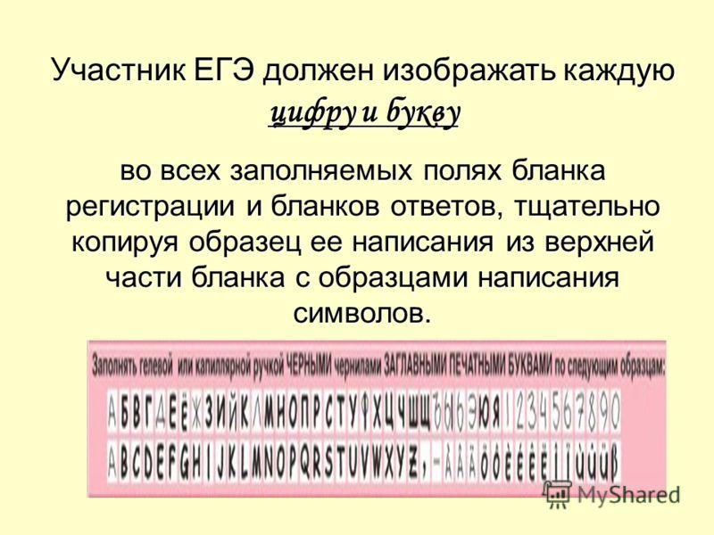 Участник ЕГЭ должен изображать каждую цифру и букву во всех заполняемых полях бланка регистрации и бланков ответов, тщательно копируя образец ее написания из верхней части бланка с образцами написания символов.