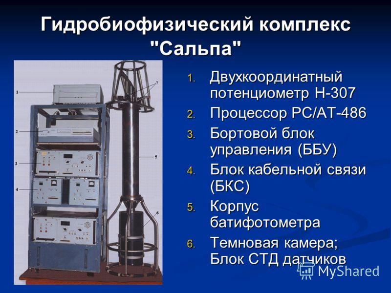 Гидробиофизический комплекс Сальпа 1. Двухкоординатный потенциометр Н-307 2. Процессор РС/АТ-486 3. Бортовой блок управления (ББУ) 4. Блок кабельной связи (БКС) 5. Корпус батифотометра 6. Темновая камера; Блок СТД датчиков
