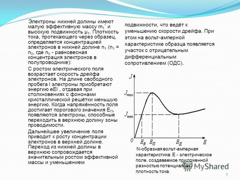 Электроны нижней долины имеют малую эффективную массу m 1 * и высокую подвижность μ 1. Плотность тока, протекающего через образец, определяется концентрацией электронов в нижней долине n 1 (n 1 = n 0, где n 0 - равновесная концентрация электронов в п
