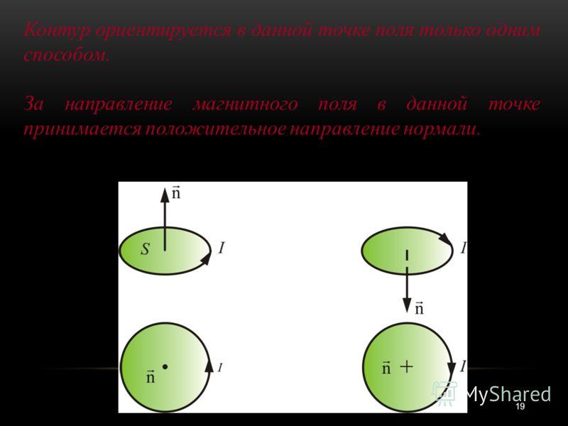 19 Контур ориентируется в данной точке поля только одним способом. За направление магнитного поля в данной точке принимается положительное направление нормали.