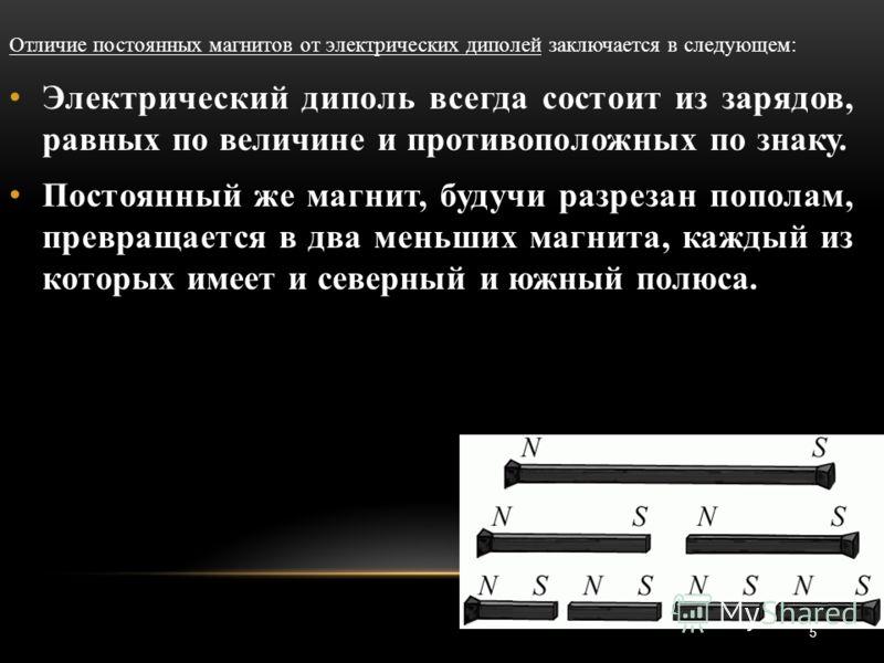 5 Отличие постоянных магнитов от электрических диполей заключается в следующем: Электрический диполь всегда состоит из зарядов, равных по величине и противоположных по знаку. Постоянный же магнит, будучи разрезан пополам, превращается в два меньших м
